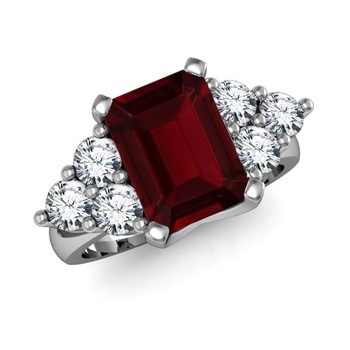 Angara Cushion Garnet and Diamond Ring in Platinum NWBjn6r