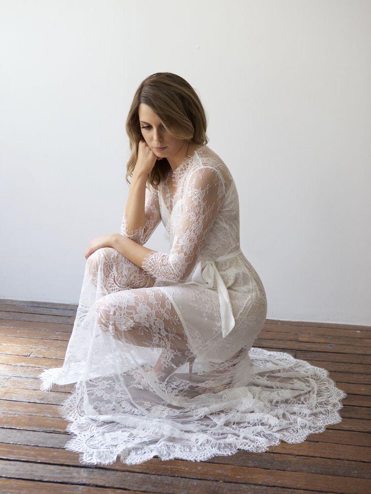 Dreamy white long lace bridal robe