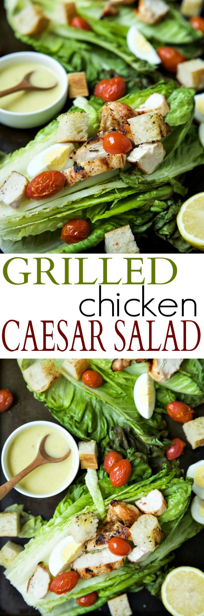Grilled Chicken Caesar Salad with a Light Caesar Dressing that is egg and anchovy free! This Salad takes 15 minutes to make, is 289 calories a serving, and you can't beat that dynamite grill flavor infused throughout this dish! | joyfulhealthyeats.com