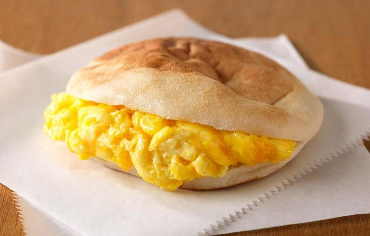 Stuffed Pita Eggwich: Cheesy scrambled eggs are folded into a whole-grain Mini Pita, which is wrapped in foil – perfect for a grab-n-go service item.