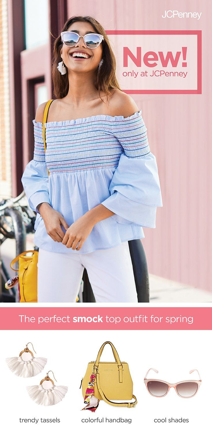 Try the latest trend for spring—smocked tops and dresses. Textured smocking makes for fun, comfy and cute styles for all. Add a pair of stylish sunglasses and some tassel earrings to complete the look. We make it easy and affordable to incorporate the latest trends and fashion ideas into your spring wardrobe.