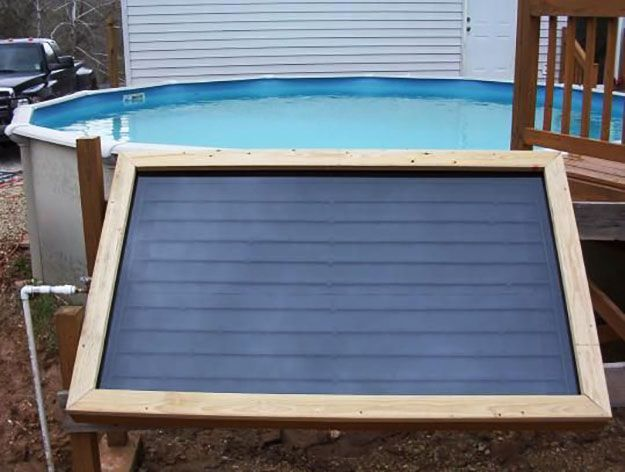 Solar Panel Tutorials | Swim and relax in warm pool water all year round with the help of this Do-It-Yourself Solar Swimming Pool Heater. | Off the Grid Projects from PioneerSettler.com #OfftheGridProjects #PioneerSettler