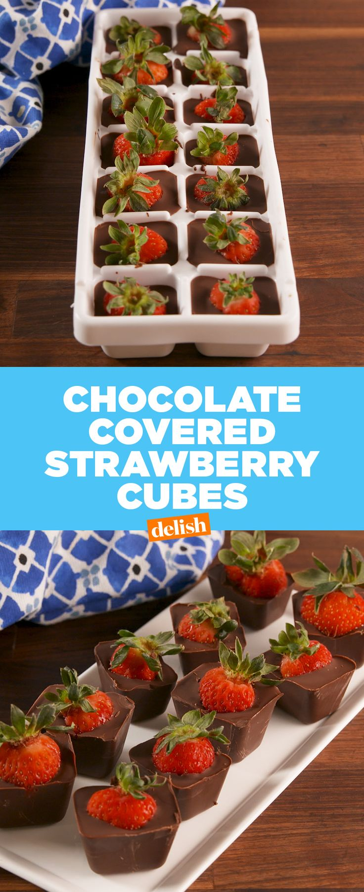This ice cube tray hack is the easiest way to make chocolate covered strawberries.