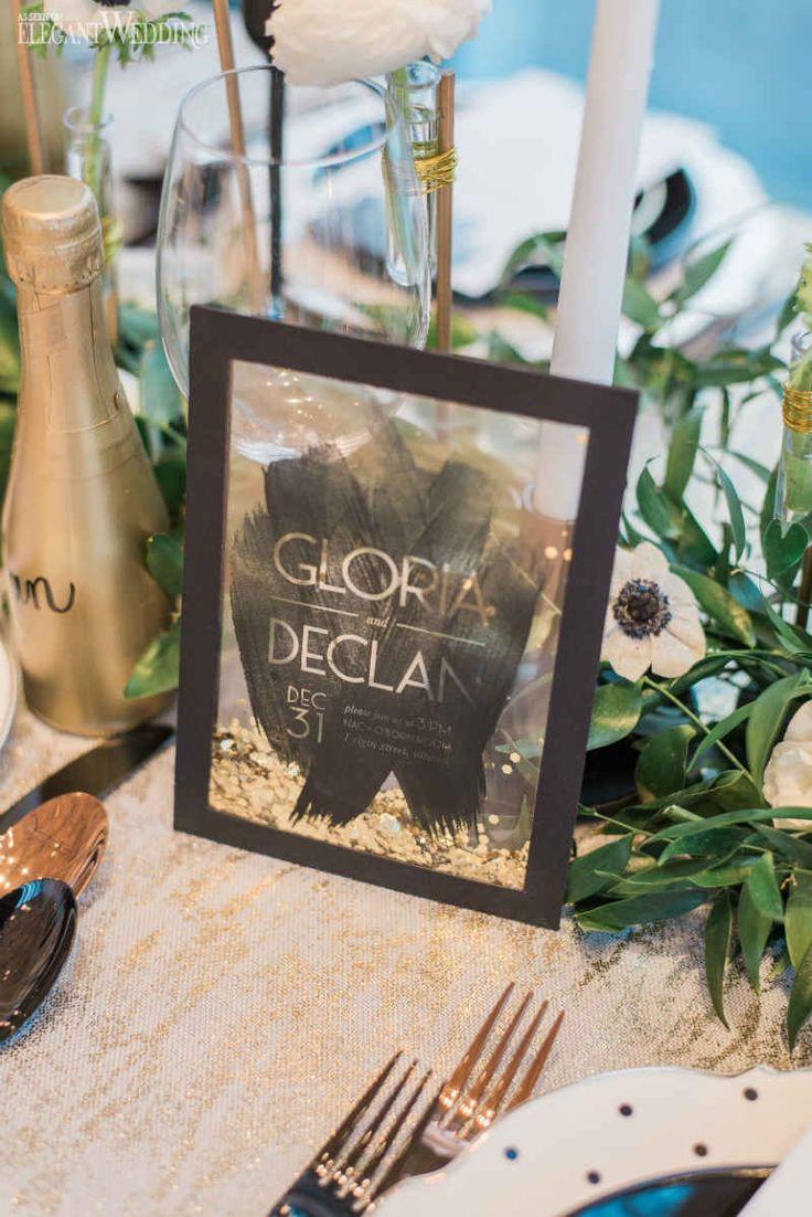 Confetti Filled Table Numbers, Confetti Wedding Ideas, Black and Gold Wedding Stationery | Glam New Year's Eve Wedding Ideas | ElegantWedding.ca