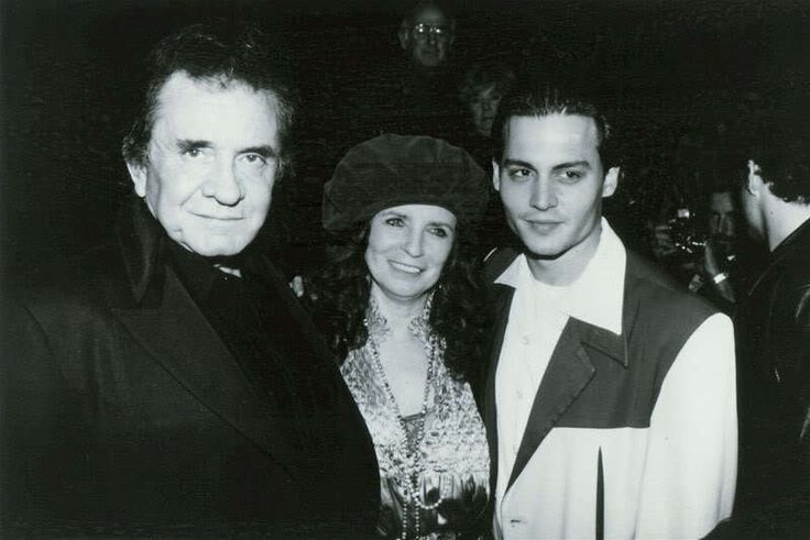 Johnny Cash and June Carter Cash with Johnny Depp at The Viper Room in 1993 (JD was part owner of the club at the time)