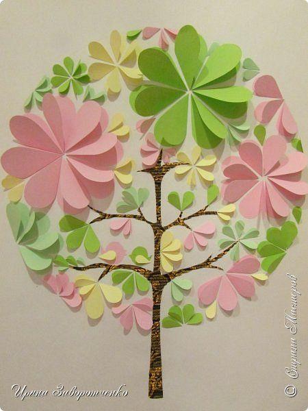Картина панно рисунок Мастер-класс Аппликация Бумагопластика Панно Весна из сердечек +МК Бумага фото 1