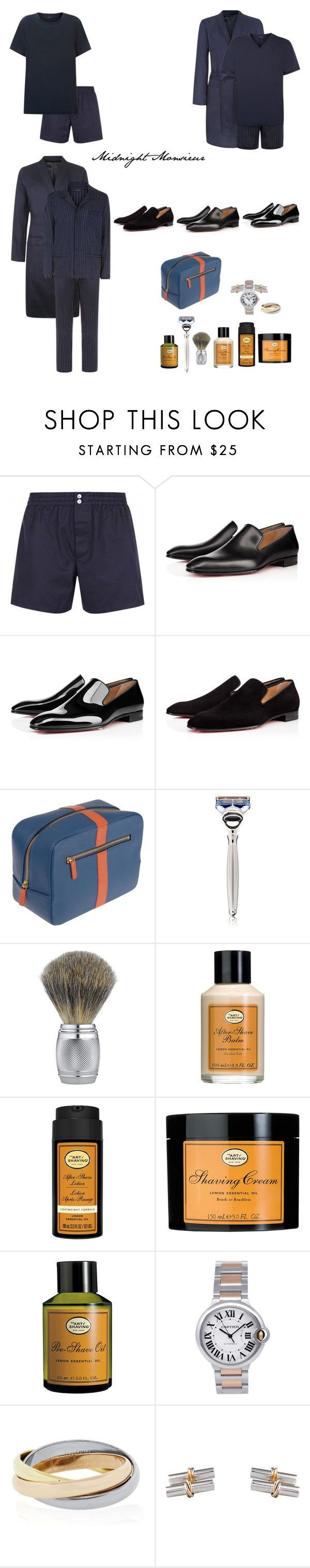 """""""Midnight Monsieur"""" by fashionnovice86 ❤ liked on Polyvore featuring Christian Louboutin, STOW, The Art of Shaving, Cartier, men's fashion and menswear"""