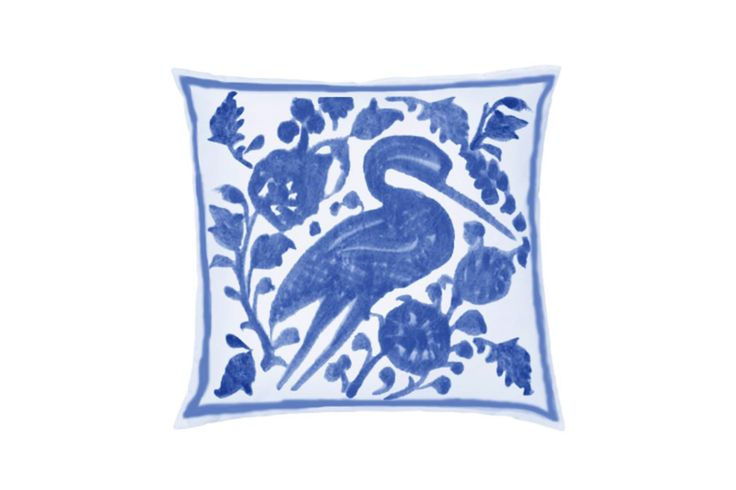 Blue and White Ibis Throw Pillow by Castara Designs. Our new Iznik inspired range of decorative cushions for 2016. Launching at Pulse London