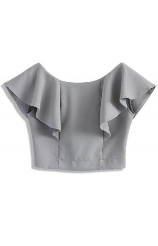 Drift in a Frilling Grey Cropped Top - Retro, Indie and Unique Fashion
