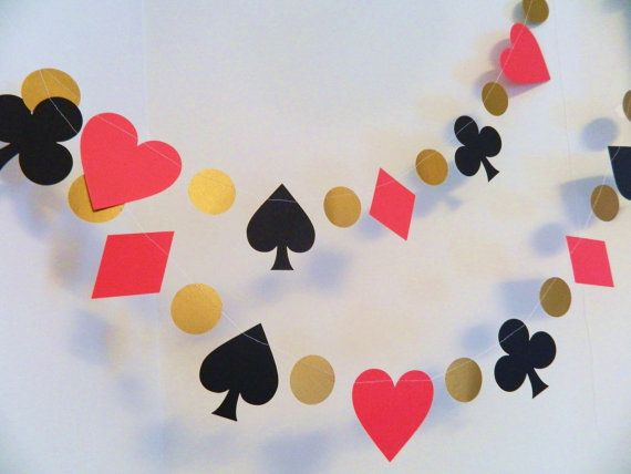 Vegas Poker Party Garland - 6 foot Alice in Wonderland Themed paper garland - Card Party Decor - Birthday Decorations  - Casino party decor