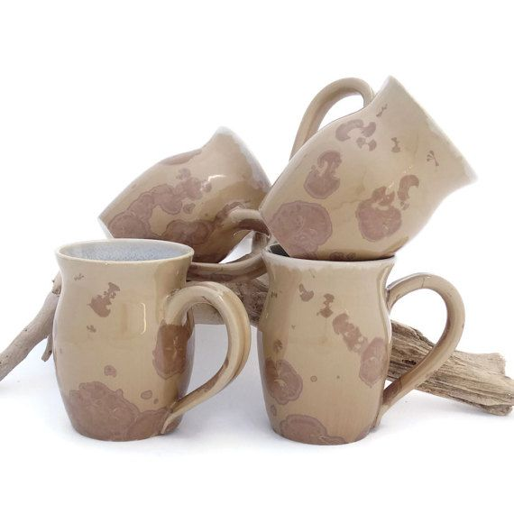 Coffee or Tea Mugs in Shades of Brown and by SunbirdPottery