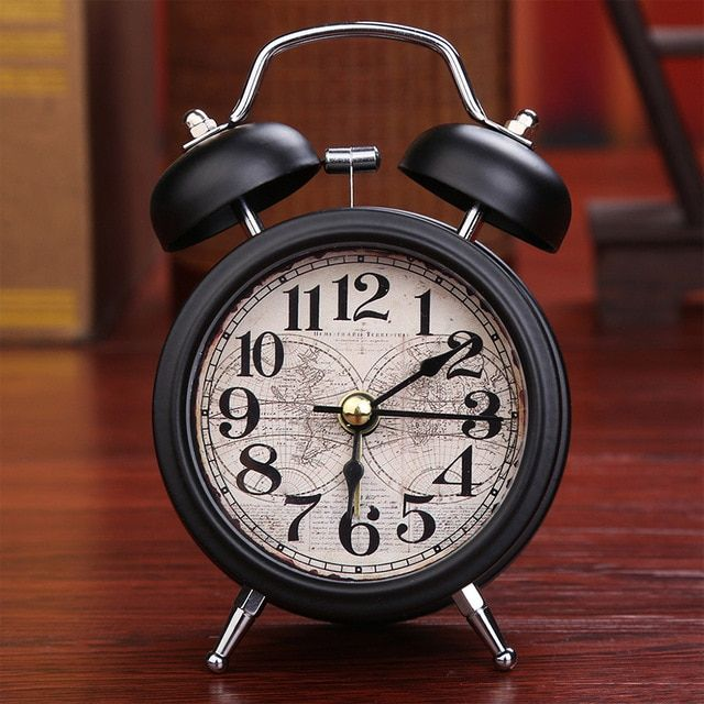 Alarm Clock Home Decor Ticking Retro Vintage Twin Bell Desk