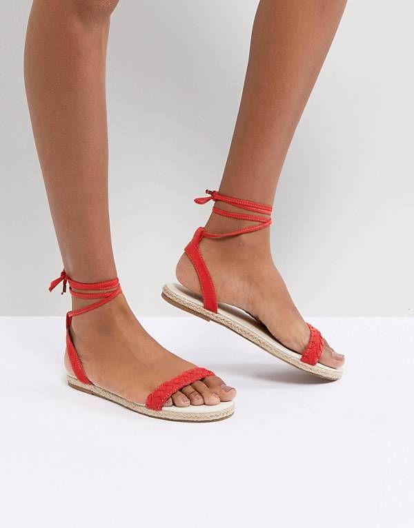 b458049dc77 Boohoo Espadrille Wrap Up Flat Sandal