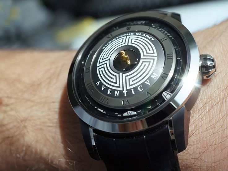 AVENTICUM   Christophe Claret  Incorporating a technique never before used in the history of watchmaking, the bust – measuring less than three millimetres – is displayed in magnified form thanks to a mirascope.   Thanks to this optical effect, the bust of Marcus Aurelius looks as if it is thrusting out of the middle of the watch.