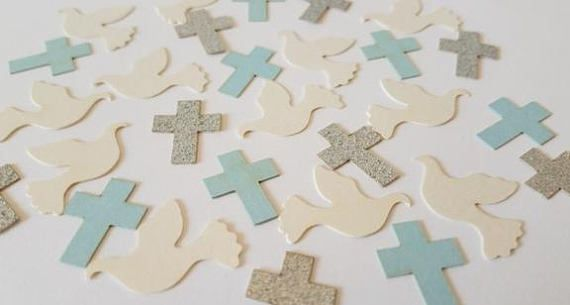 Baby Boy Baptism Decorations Dove and Cross Confetti  Choice