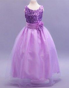 Purple Sequin Flower Girl Dress  LP55