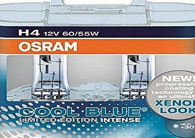 Osram Cool Blue Intense Limited Edition H4 Light Car Headlight Bulbs Lamps Front Twin Pack 30% More Light  Product benefits Progressive coating technology for the ultimate xenon look Up to 30 % more light (compared to standard xenon lamps) Bright and therefore pleasant light f (Barcode EAN = 4502899174917) http://www.comparestoreprices.co.uk/latest1/osram-cool-blue-intense-limited-edition-h4-light-car-headlight-bulbs-lamps-front-twin-pack-30%-more-light-.asp