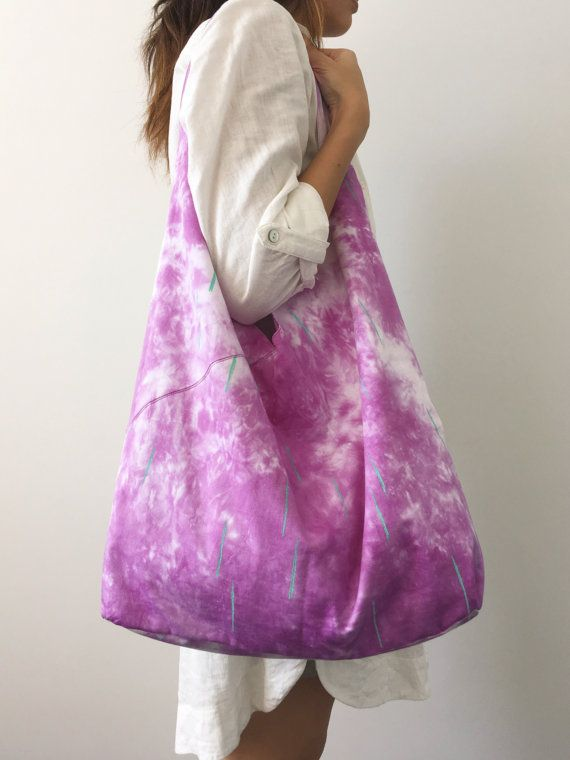 Makeforgood Collection Handdyed Library Tote by ThistleandCotton