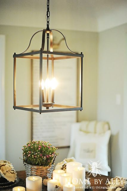 Allen & Roth chandelier (lantern style) with open sides at Lowes Home Improvement.  Beautiful above the table.  2015 Farmhouse Fall Home Tour! | Home by Ally