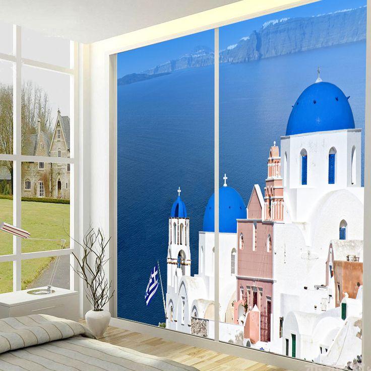 yazi Customized Size Made Mediterranean Sea House PVC Wallpaper Mural Window Door Glass Film Sliding Door Sticker