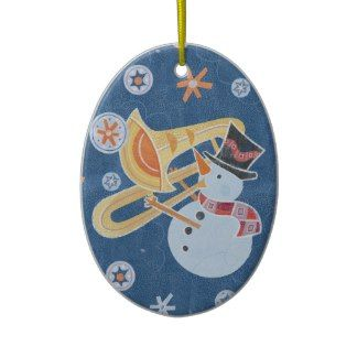 Snowman Horn Making Xmas Holiday Music Christmas Ornaments