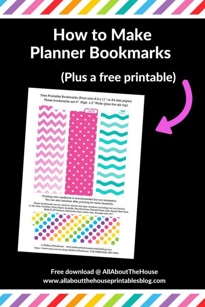 how to make planner bookmarks, planner printable, page marker, rainbow, color code, free printable, diy, planner accessory, ec