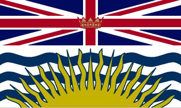 The flag of British Columbia was officially adopted in 1960.                         The flag is in essence an armorial banner of the Arms of the Province (granted in 1906) and topped by a Union Jack. The sun represents the glory of the province, while the wavy blue lines represent the Pacific Ocean and the province's position on the western coastline of Canada.