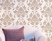 Égyptienne Lotus - look Damas - pochoir mur élégant et réutilisables pour la décoration - papier peint - décor de maison facile