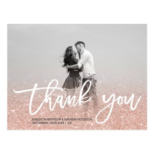 http://ift.tt/2w0HA6S Shop https://goo.gl/85yFbu   Rose gold faux glitter pink photo thank you postcard    Send your thank you for your wedding with this custom design with an elegant white script typography . Just add your couple photo and add your message with this rose gold glitter...  Go To Store  https://goo.gl/85yFbu  #CouplePhoto #ElegantScript #FauxRoseGold #Modern #PhotoThankYou #PinkGlitter #ThankYouWedding #Typography #TypographyThankYou #Wedding http://ift.tt/2w0HA6S