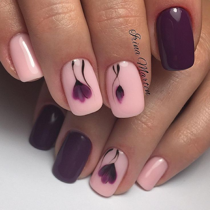 Pink & maroon nail art design | Instagram de @nails_irinamarten