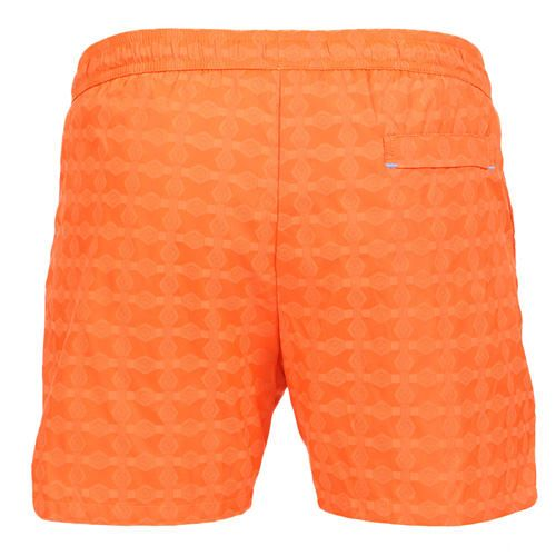 LIDO 1 MID-LENGHT BOARDSHORTS COLOR ORANGE Made in Italy orange Jacquard nylon LIDO 1 mid-length boardshorts. Two front pockets and a small press stud pocket featuring an hexagonal metal decoration. Back pocket. Internal net. Elastic waistband with adjustable drawstring. COMPOSITION: 100% POLYAMIDE. Model wears size L he is 189 cm tall and weighs 86 Kg.