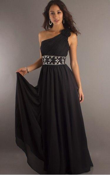 Favodresses.com is a professional women's dresses online shop,where you can find your favourite Sheath Floor-length One Shoulder Black Dress.