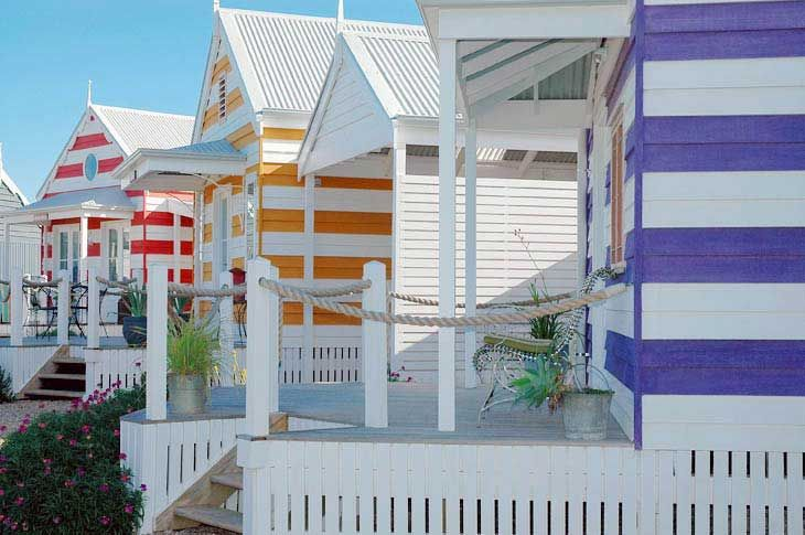 Beach Huts, Middleton, South Australia (not far from Adelaide).  Beach huts to rent as holiday accommodation.