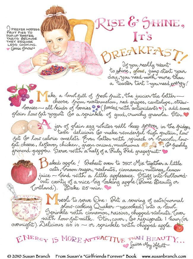 First off I love Susan Branch but these Breakfast recipes sound yummy!! Thanks Susan!