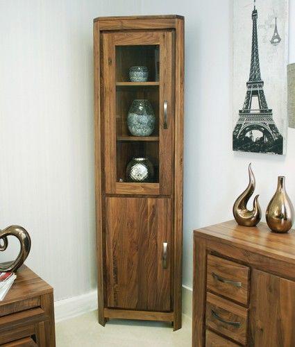 mayan solid walnut home living room furniture glazed corner display cabinet unit