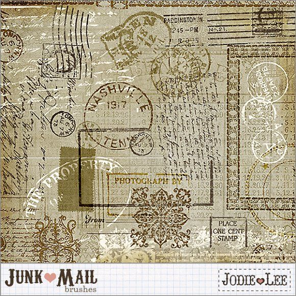 Junk Mail Postage Brushes 1 by Jodie Lee Designs on @creativemarket