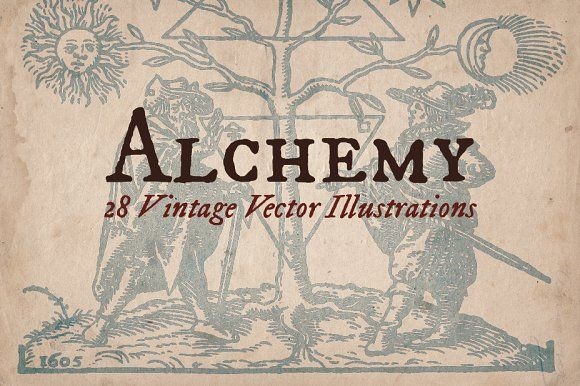 Alchemy illustrations with PNG files