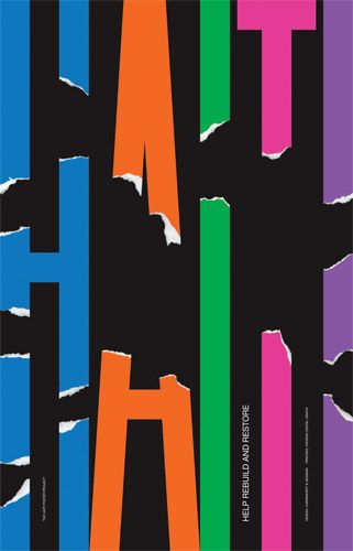 """Haiti Poster Project by Chermayeff & Geismar  """"Help Rebuild and Restore"""": Created for a poster auction to benefit the efforts of Doctors Without Borders in Haiti."""