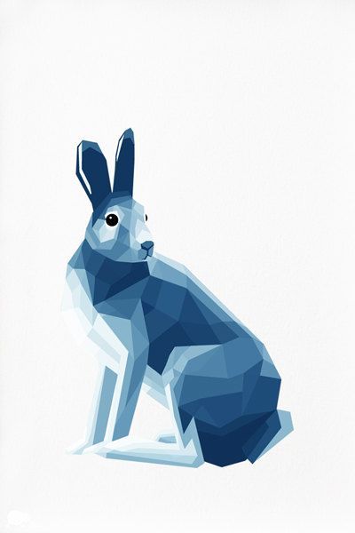 Geometric illustration Arctic Hare Animal by TinyKiwiCreations