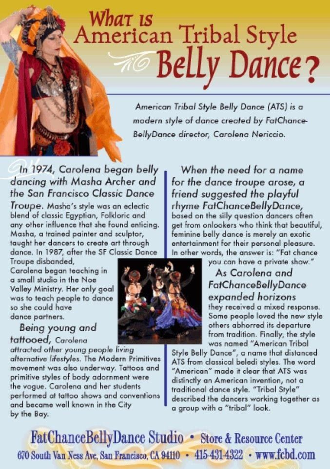 """""""What is American Tribal Style Belly Dance"""" by Carolena Nericcio, director of Fat Chance Belly Dance."""