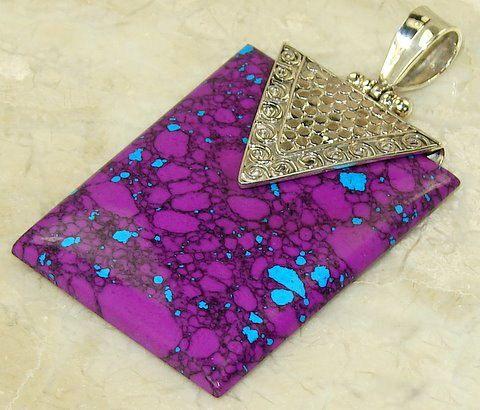 | Designer Turquoise pendant | Purple turquoise silver pendant | Turquoise purple pendant | Wholesale purple turquoise pendant |