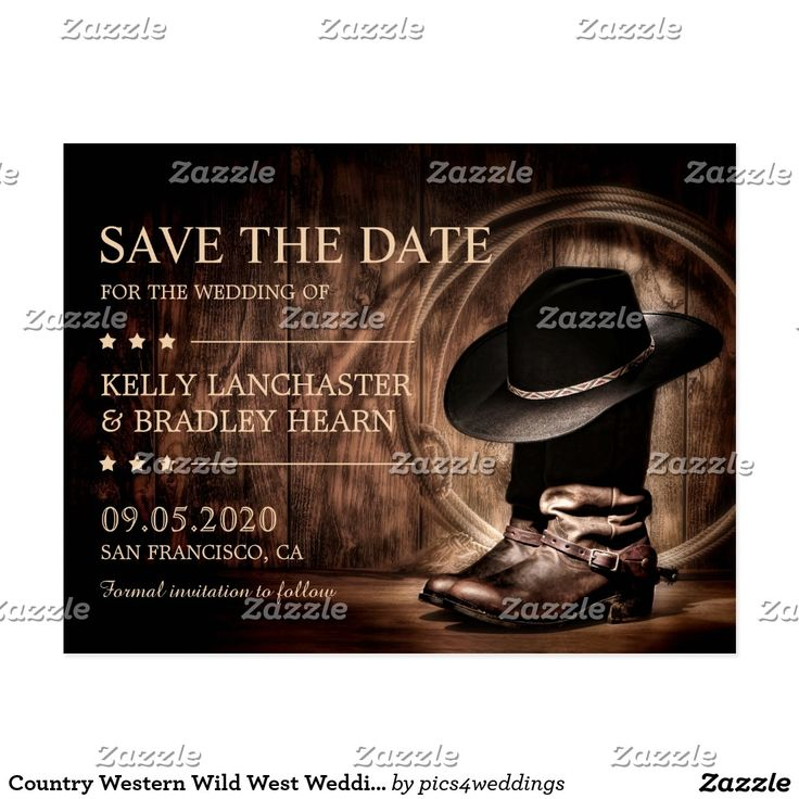 Country Western Wild West Wedding Save The Date