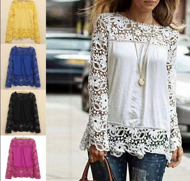 Causal Womens Sheer Sleeve Embroidery Top Blouse Lace Crochet Shirts M-4XL G937 #Unbranded #Blouse #Casual