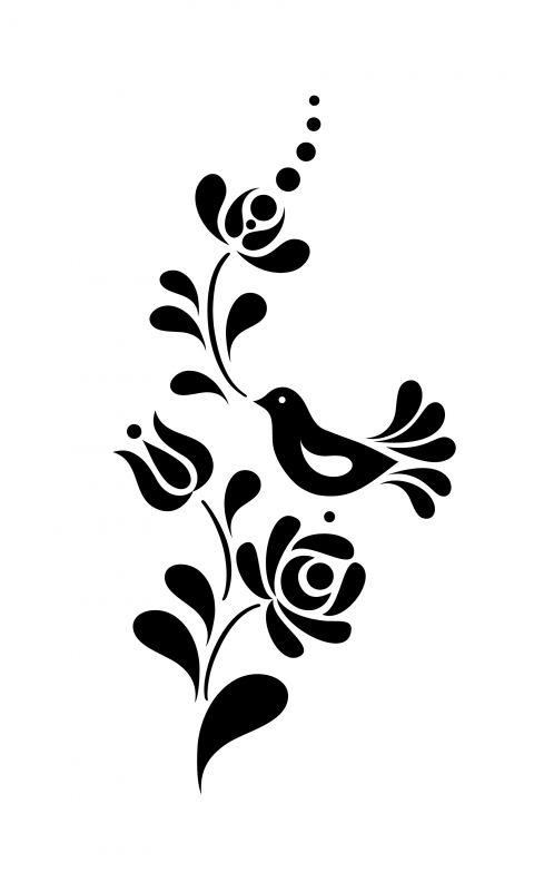 Madaras virágmintás falmatrica, Dekoráció, Falmatrica, Kalocsai motívumok alapján