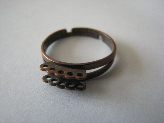 Adjustable 10 loops Beading Ring Base BRASS http://etsy.me/1BSw6QZ #jewelry #ring #mount #brass #jewel #gem #bezel #setting