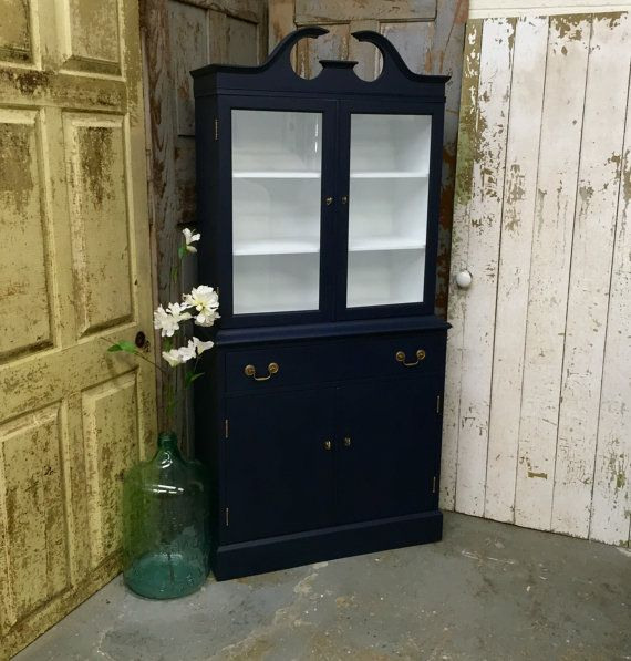 Vintage China Cabinet, Federal Style Furniture, Small Display Case, Blue Bookcase, Small Liquor Cabinet