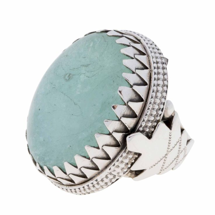 Ring-Aqua Marine Cabochon and Sterling Silver