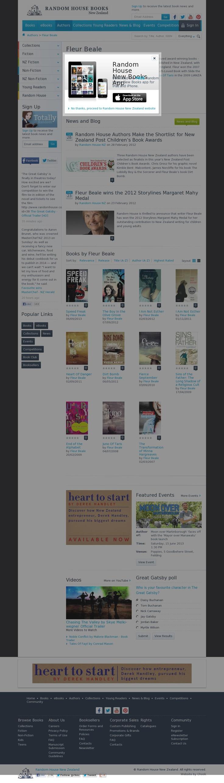 The website http://www.randomhouse.co.nz/authors/fleur-beale.aspx courtesy of @Pinstamatic (http://pinstamatic.com)