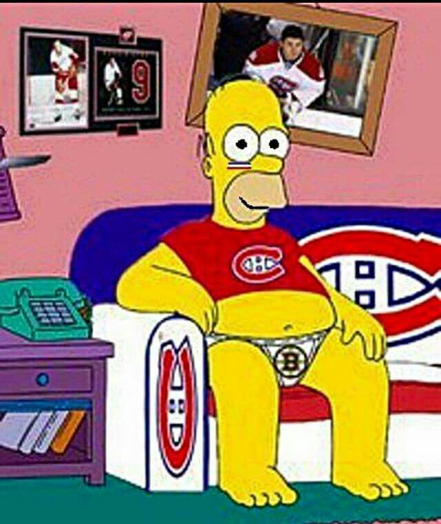 Homer watching a habs game