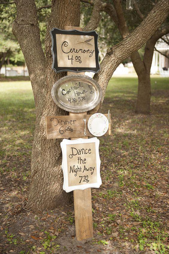 rustic cute timeline wedding sign via Stephanie A Smith Photography